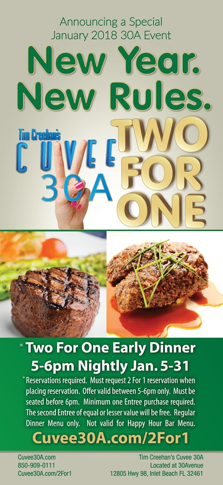 Cuvee 30A Two For One • January 2018 30A Event • Early Dinner 5-6pm Nightly Jan 5-31