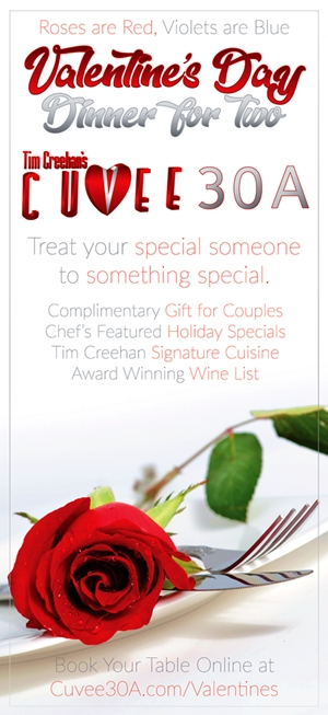 Valentine's Day Dinner For Two at Cuvee 30A at 30Avenue