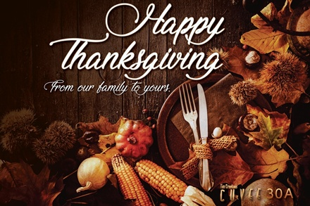 Tim Creehan's 23rd Annual Thanksgiving Day Buffet exclusively at Cuvee 30A at 30Avenue