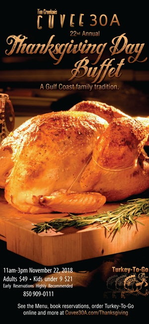 Tim Creehan's 22nd Annual Thanksgiving Day Buffet exclusively at Cuvee 30A at 30Avenue