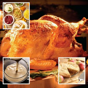 Full Turkey Dinner + Dessert | Louisiana Fried Turkey, Chef Tim Creehan's Traditional Gravy, Cranberry Dressing, Cornbread Dressing, Yukon Gold Mashed Potatoes, Baked Sweet Potatoes with Toasted Pecans, Butter and Brown Sugar, Bacon Braised Green Beans, Creamed Corn + Dessert
