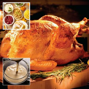 Turkey Full Dinner | Louisiana Fried Turkey, Chef Tim Creehan's Traditional Gravy, Cranberry Dressing, Cornbread Dressing, Yukon Gold Mashed Potatoes, Baked Sweet Potatoes with Toasted Pecans, Butter and Brown Sugar, Bacon Braised Green Beans, Creamed Corn