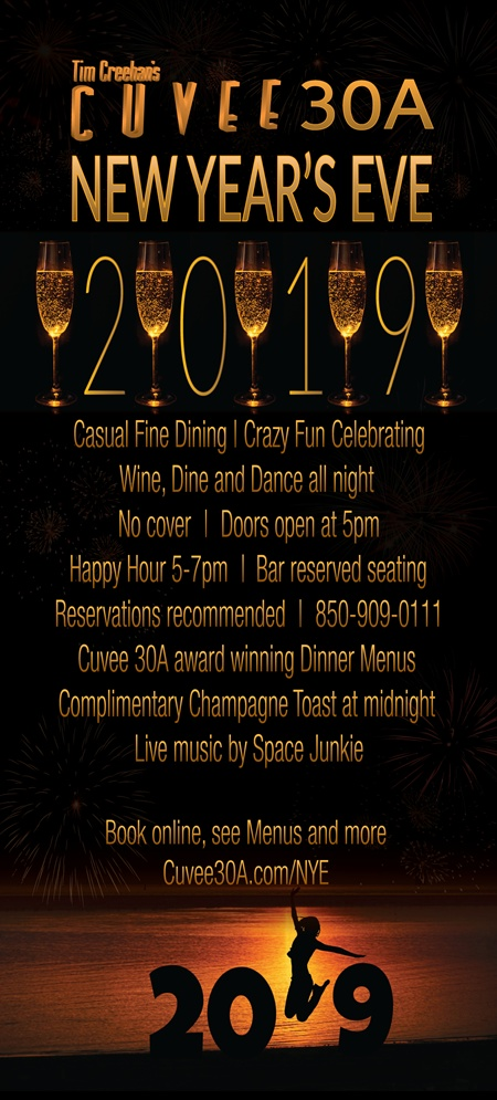 Cuvee 30A New Year's Eve 2019 Celebration  |  Tim Creehan's Cuvee 30A at 30Avenue