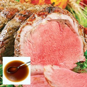 Prime Rib Full Dinner + Dessert | Juicy Prime Rib (6 12-14oz steaks) with Chef Creehan's Au Jus, Cranberry Dressing, Cornbread Dressing, Yukon Gold Mashed Potatoes, Baked Sweet Potatoes with Toasted Pecans, Butter and Brown Sugar, Bacon Braised Green Beans, Creamed Corn + Dessert