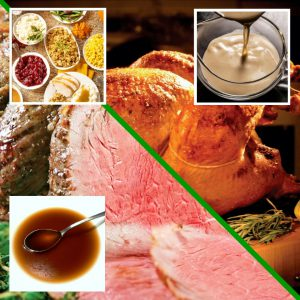 Prime Rib + Turkey Full Dinner | Juicy Prime Rib (6 12-14oz steaks) with Au Jus, Fried Louisiana Turkey with Traditional Gravy, Cranberry Dressing, Cornbread Dressing, Yukon Gold Mashed Potatoes, Baked Sweet Potatoes with Toasted Pecans, Butter and Brown Sugar, Bacon Braised Green Beans, Creamed Corn
