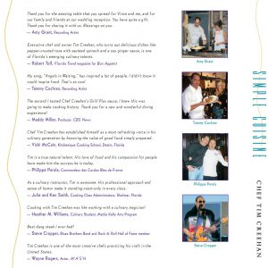 Tim Creehan's Simple Cuisine Cookbook - Back