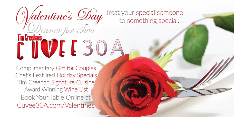 Valentine's Day Dinner for Two at Cuvee 30A
