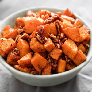 Baked Sweet Potatoes with Toasted Pecans, Butter and Brown Sugar