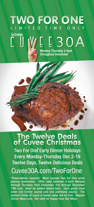 Two For One Early Dinner | The Twelve Deals of Cuvee Christmas