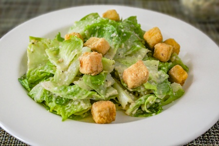 Classic Caesar Salad with Eggplant Croutons