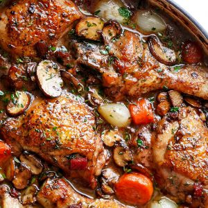 Classic French Coq au Vin ~ Chicken in Red Wine Sauce