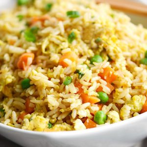 Traditional Fried Basmati Rice with Peas, Carrots, Egg