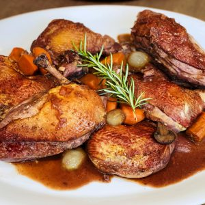 Coq au Vin ~ Chicken in Red Wine Sauce with Mushrooms and Pearl Onions