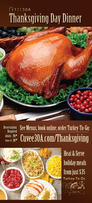 Chef Tim Creehan's Thanksgiving Day Dinner at Cuvee 30A