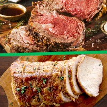 Christmas Dinner-To-Go: Prime Rib and Roasted Pork Full Dinner + Dessert