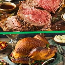 Christmas Dinner-To-Go: Prime Rib + Turkey Full Dinner and Dessert